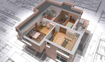 house layout on blueprint